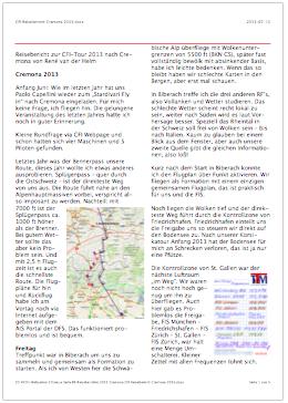 CFI Reisebericht Cremona 2013