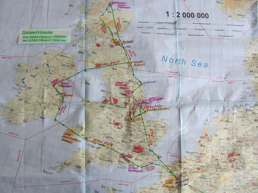 tatsächliche Route des Schottlandfluges 2013